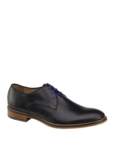 Johnston & Murphy Conard Plain Toe Derby Shoes-BLACK-8.5