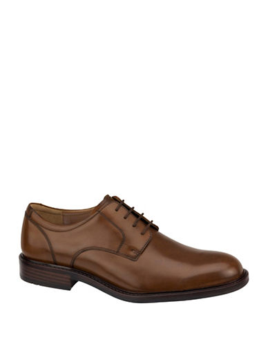 Johnston & Murphy Tabor Premium Calfskin Plain-Toe Oxfords-TAN-12W