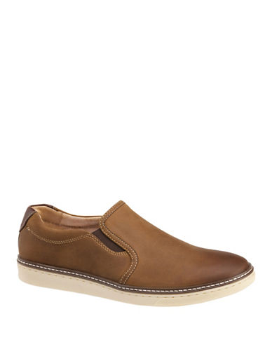 Johnston & Murphy McGuffey Nubuck Slip-On Shoes-TAN-12