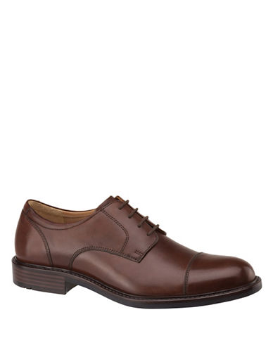 Johnston & Murphy Tabor Calfskin Cap-toe Oxfords-BROWN-12