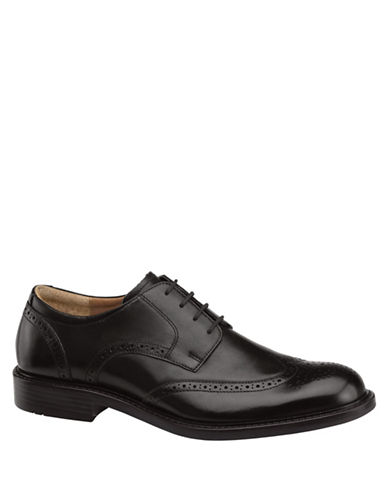 Johnston & Murphy Tabor Wingtip Calfskin Oxfords-BLACK-10.5
