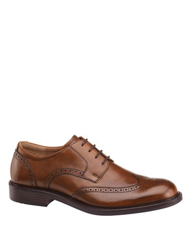 Johnston & Murphy Tabor Wingtip Calfskin Oxfords-TAN-9