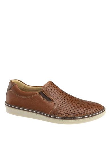 Johnston & Murphy McGuffey Leather Woven Slip-Ons-BROWN-9