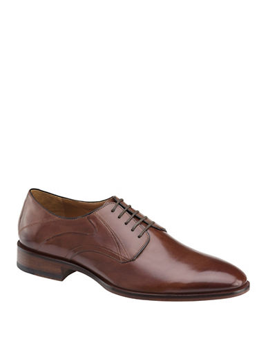 Johnston & Murphy Nolan Plain Toe Derby Shoes-MAHOGANY-10.5