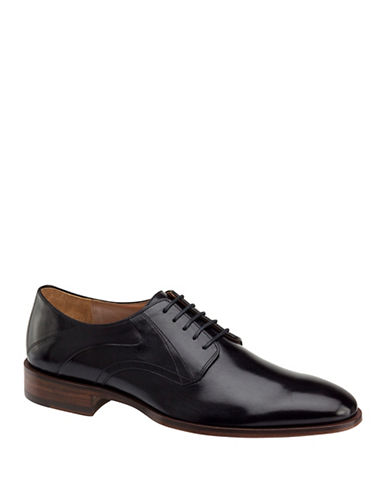 Johnston & Murphy Nolan Plain Toe Derby Shoes-BLACK-11.5