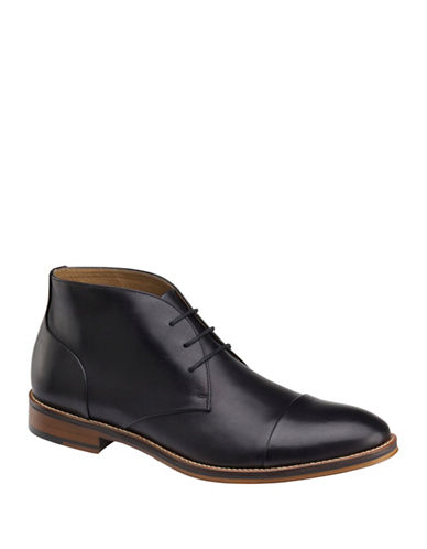Johnston & Murphy Conard Cap Toe Chukka Boots-BLACK-13