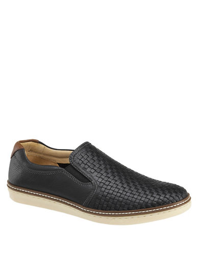 Johnston & Murphy McGuffey Leather Woven Slip-Ons-BLACK-13