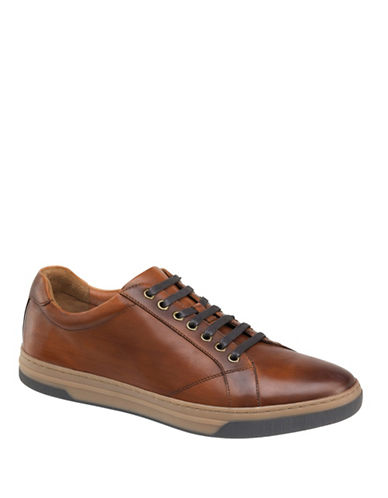 Johnston & Murphy Fenton Leather Lace-Up Leather Sneaker-TAN-13