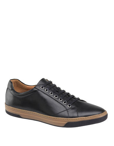 Johnston & Murphy Fenton Leather Lace-Up Leather Sneaker-BLACK-8