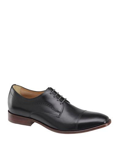 Johnston & Murphy McClain Cap Toe Derby Shoes-BLACK-11.5