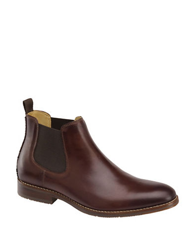 Johnston & Murphy Garner Leather Chelsea Boots-MAHOGANY-9