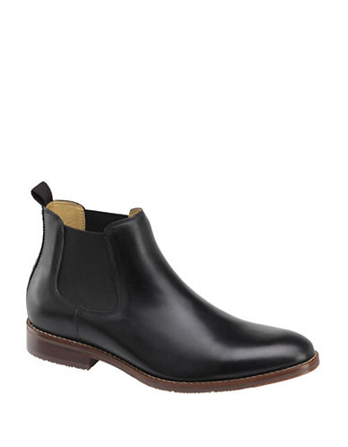 Johnston & Murphy Garner Leather Chelsea Boots-BLACK-11.5