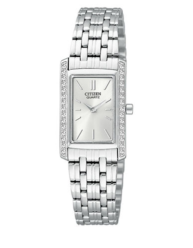 Citizen Quartz Analog Citizen Quartz Collection Crystal-Accent Rectangular Stainless Steel Bracelet Watch-SILVER-One Size