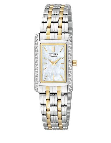 Citizen Quartz Analog Citizen Quartz Collection Crystal-Accent Rectangular Two-Tone Bracelet Watch-SILVER/GOLD-One Size