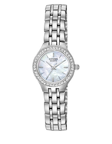 Citizen Quartz Analog Citizen Quartz Collection Mother-of-Pearl Stainless Steel Bracelet Watch-SILVER-One Size