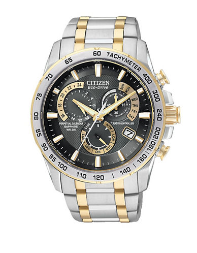 Citizen Mens Eco-Drive Perpetual Chrono A-T Watch-TWO TONE-One Size