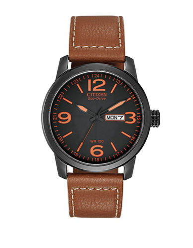 Citizen Analog Sport Leather Strap Watch-BROWN-One Size