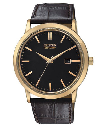 Citizen Men's Citizen EcoDrive Strap Watch rose gold tone stainless steel with brown strap One Size