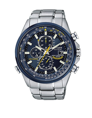 Citizen Men's Citizen Eco-Drive Blue Angels World Chronograph A-T Watch-SILVER-One Size