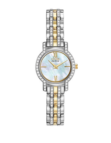 Citizen Eco-Drive Silhouette Crystal Two-Tone Stainless Steel Bracelet Watch-TWO TONE-One Size