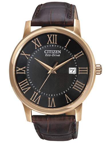 Citizen Mens Leather Strap Watch-BROWN-One Size