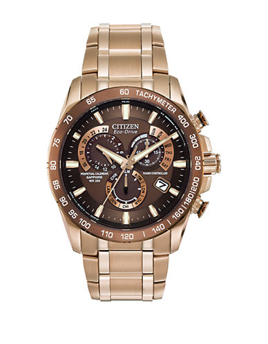 Citizen Chrono A-T Stainless Steel Bracelet Watch-BROWN-One Size