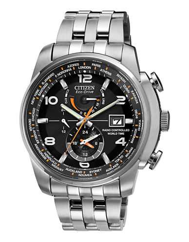 Citizen World Time Stainless Steel Watch-SILVER-One Size