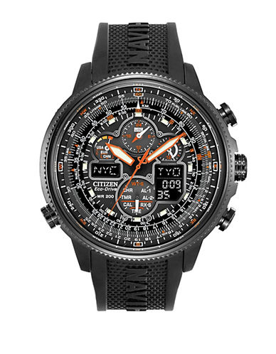 Citizen Eco-Drive Navihawk A-T Stainless Steel Embossed Strap Watch-BLACK-One Size