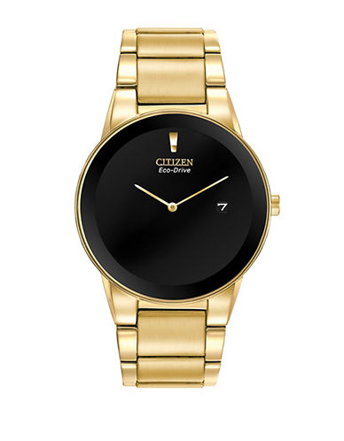 Citizen Analog Axiom Yellow Goldtone Stainless Steel Watch-GOLD-One Size