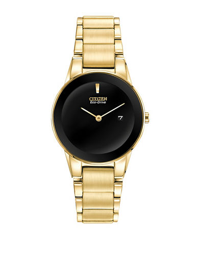 Citizen Eco-Drive Axiom Goldtone Stainless Steel Bracelet Watch-GOLD-One Size