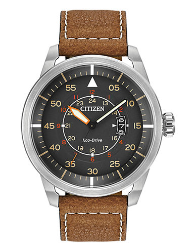 Citizen Mens Avion Watch with Leather Strap-BROWN-One Size