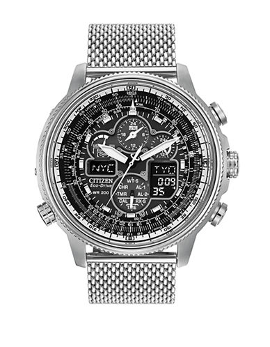 Citizen Navihawk A-T Stainless Steel Mesh Bracelet Watch-SILVER-One Size