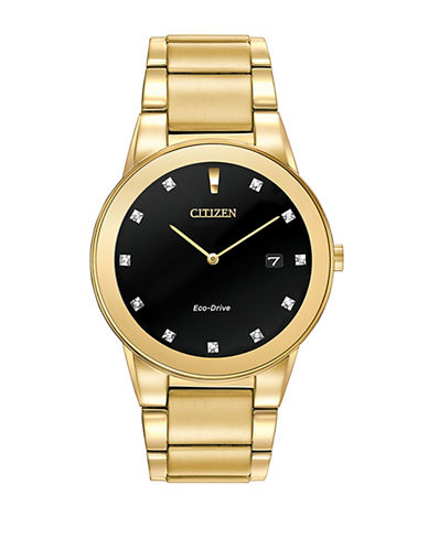 Citizen Analog Axiom Diamond and Yellow Goldtone Stainless Steel Watch-GOLD-One Size