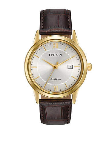 Citizen Analog Straps Yellow Goldtone Stainless Steel Watch-BROWN-One Size