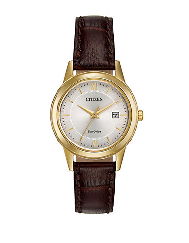 Citizen Eco-Drive Goldtone Leather Strap Watch-BROWN-One Size