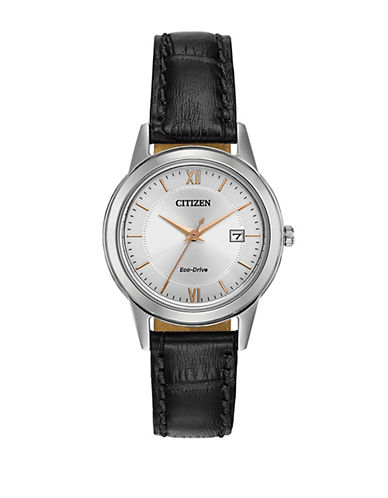 Citizen Eco-Drive Silvertone Leather Strap Watch-BLACK-One Size