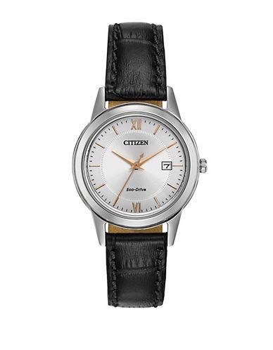 Citizen Eco-Drive Silvertone Leather Strap Watch-BLACK-One Size
