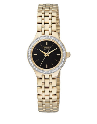 Citizen Quartz Analog Citizen Quartz Collection Crystal-Accent Goldtone Bracelet Watch-GOLD-One Size