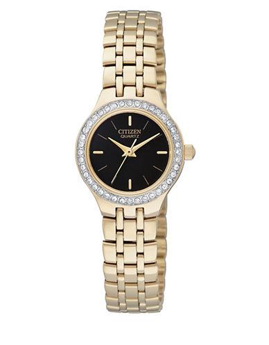 Citizen Quartz Analog Citizen Quartz Collection Crystal-Accent Goldtone Bracelet Watch-GOLD-One Size