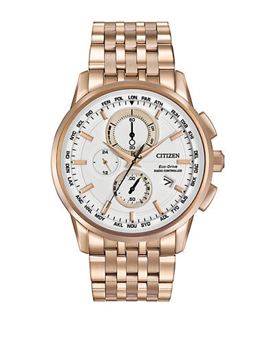 Citizen World Chronograph A-T Rose Goldtone Stainless Steel Bracelet Watch-ROSE GOLD-One Size