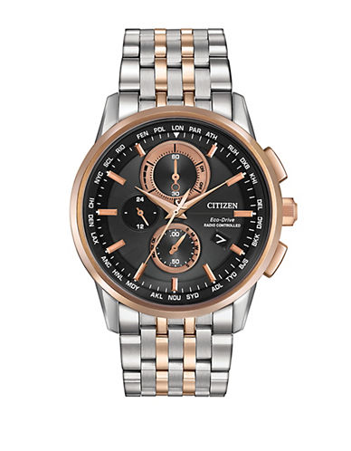 Citizen World Chronograph A-T Two-Tone Stainless Steel Watch-TWO TONE-One Size