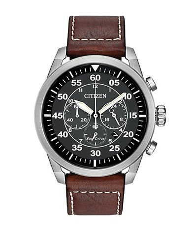 Citizen Chronograph Avion Stainless Steel Watch-BROWN-One Size
