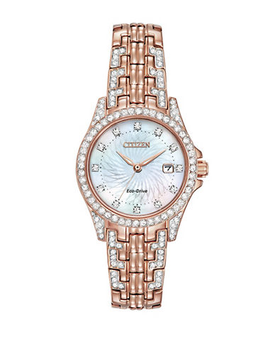 Citizen Eco-Drive Silhouette Crystal Rose Goldtone Stainless Steel Bracelet Watch-ROSE GOLD-One Size
