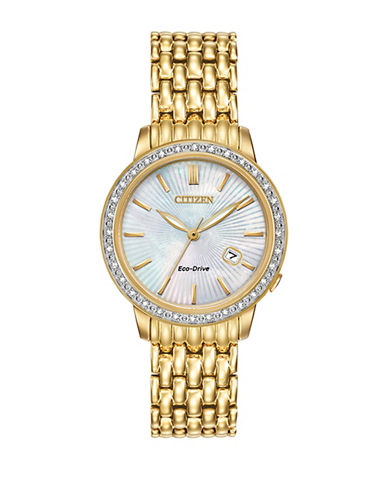 Citizen Eco-Drive Classic Diamond Goldtone Stainless Steel Bracelet Watch-GOLD-One Size