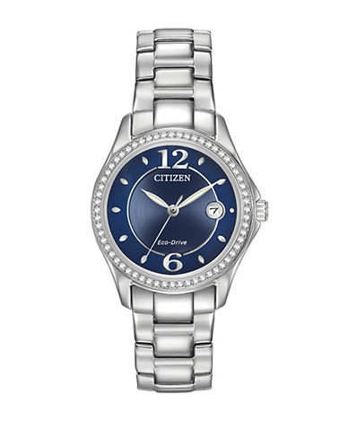 Citizen Eco-Drive Silhouette Crystal Accent Stainless Steel Bracelet Watch-SILVER-One Size