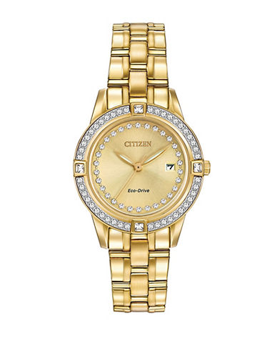 Citizen Eco-Drive Silhouette Crystal Accent Goldtone Stainless Steel Bracelet Watch-GOLD-One Size