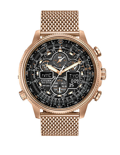 Citizen Navihawk A-T Stainless Steel Mesh Bracelet Watch-ROSE GOLD-One Size