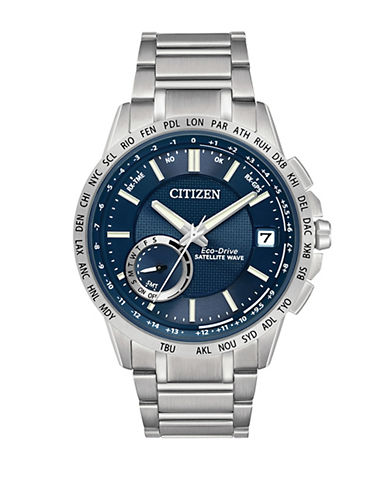 Citizen Eco-Drive Satellite Wave World Time GPS Stainless Steel Bracelet Watch-SILVER-One Size