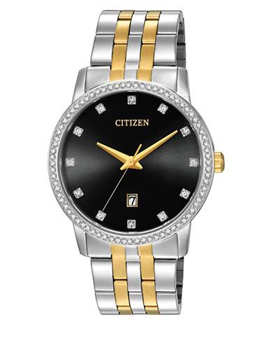 Citizen Quartz Analog Citizen Quartz Collection Dualtone Crystal Accent Stainless Steel Watch-SILVER/GOLD-One Size