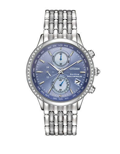 Citizen Eco-Drive World Chronograph A-T Stainless Steel Bracelet Watch-SILVER-One Size